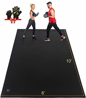 Picture of GXMMAT Extra Large Exercise Mat 10'x6'x7mm, Ultra Durable Workout Mats for Home Gym Flooring, Shoe-Friendly Non-Slip Cardio Mat for MMA, Plyo, Jump, All-Purpose Fitness