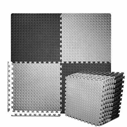 Picture of BEAUTYOVO Puzzle Exercise Mat with 12 Tiles Interlocking Foam Gym Mats, 24'' x 24'' EVA Foam Floor Tiles, Protective Flooring Mats Interlocking for Gym Equipment, Black/Gray