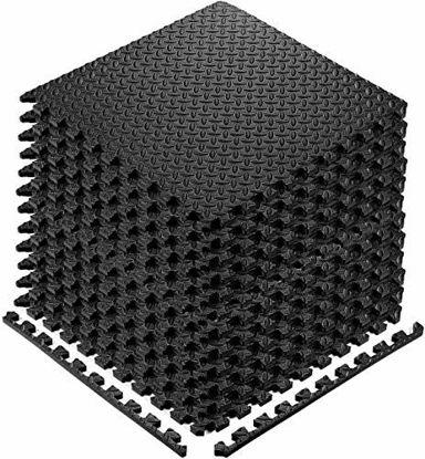Picture of StillCool Puzzle Exercise Floor Mat, EVA Interlocking Foam Tiles Exercise Equipment Mat with Border - for Gyms, Yoga, Outdoor, Kids (E. 20 Square Feet (20 Tiles) - Black)