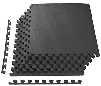 Picture of BalanceFrom Puzzle Exercise Mat with EVA Foam Interlocking Tiles, Black