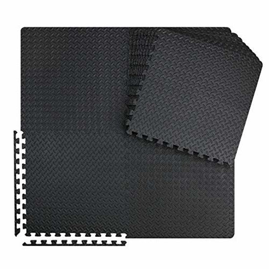 Picture of innhom 12 Black Tiles Gym Mat Puzzle Exercise Mats Interlocking Foam Mats Protective Flooring Mats with EVA Foam Floor Tiles for Gym Equipment Workouts