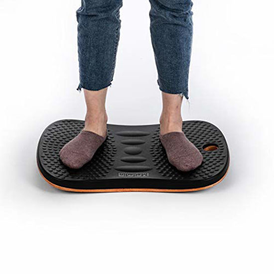 Picture of Matladin Upgraded Premium Standing Desk Anti-Fatigue Active Wooden Wobble Balance Board, Ergonomic Floor Mats for Long Periods of Standing/Stand Up Desk/Gym/Stability/Foot Rocker Leg Exerciser