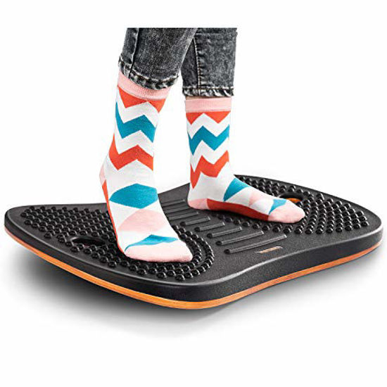 Picture of FEZIBO Standing Desk Anti Fatigue Mat Wooden Wobble Balance Board Stability Rocker with Ergonomic Design Comfort Floor Mat (Medium, Obsidian Black)