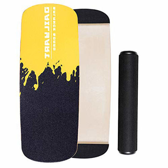 Picture of Dailyart Balance Board Trainer, Board Exercise with Roller, Training Equipment for Balance Stability and Fitness, Core Balance Board for Surf Ski Snowboard Skateboard Hockey Training, Yellow