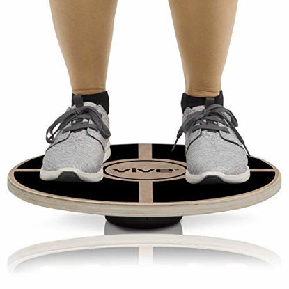 Picture of Vive Fit Balance Board - Wooden Self Balancing Wobble Platform - Wood Twist Trainer for Fit Abs, Arms, Legs, Core Tone, Surf, Skateboard, Gymnastics, Ballet, Exercise, Physical Therapy, and Kids