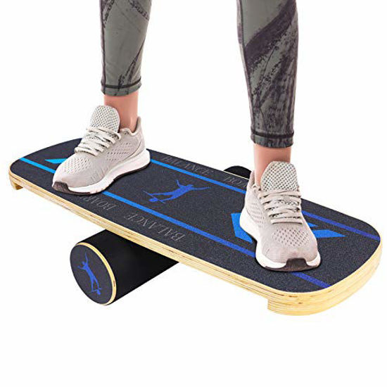 Picture of TOPKIN Balance Board, Wooden Balance Board Trainer with Roller, Balance Trainer for Skateboarding, Surfing, Skiing, Fitness and Exercise