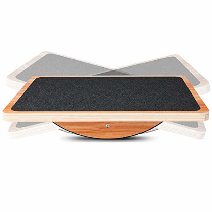 Picture of P&BEXC Wooden Balance Board for Balance Training and Keep Healthy Balancing Board for Under Desk, Anti Slip Roller, Core Strength, Stability, Office Wobble Boards