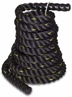 """Picture of SUPER DEAL Black 1.5"""" Poly Dacron 30ft Battle Rope Workout Training Undulation Rope Fitness Rope Exercise (1.530 Black)"""
