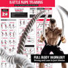 Picture of Battle Rope with Foldable Poster and Anchor KIT. Full Body Workout Equipment for Crossfit Training, Home Gym or Fitness Exercise. Poly Dacron Heavy Battling Ropes for Strength