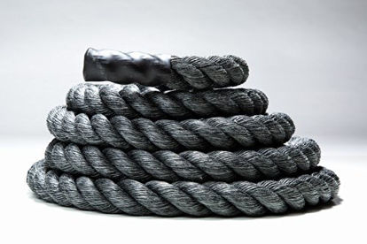 """Picture of Fitness Solutions Black Training Rope/Battle Ropes+Free Access to Online Video (1.5"""" Thick X 50 FT Long)+"""