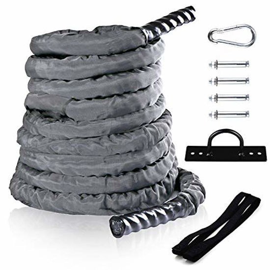 Picture of Sotech Fitness Battle Rope with Anchor Strap & Wall Mount Bracket Kit Set,Durable Nylon Grey Protective Sleeve,1.5'' 30ft Poly Dacron Undulation Jump Rope for Cardio Workout Training
