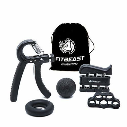 Picture of FitBeast Hand Grip Strengthener Workout Kit (5 Pack) Forearm Grip Adjustable Resistance Hand Gripper, Finger Exerciser, Finger Stretcher, Grip Ring & Stress Relief Grip Ball for Athletes (Black)