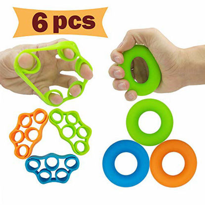 Picture of Hand Grip Strengthener, Finger Exerciser, Grip Strength Trainer (6 PCS)*New Material*Forearm Grip Workout, Finger Stretcher, Relieve Wrist Pain, Carpal Tunnel, Trigger Finger, Mallet Finger and More.