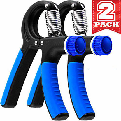 Picture of Grip Strength Trainer - 2 Pack Hand Grip Strengthener W/Adjustable Resistance Range 20lbs-90lbs - Robust and Non-Slip Hand Strengthener for Perfect Forearm Grip Workout and Hand Rehabilitation