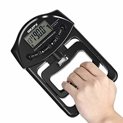 Picture of GRIPX Digital Hand Dynamometer Grip Strength Measurement Meter Auto Capturing Electronic Hand Grip Power 198Lbs / 90Kgs, Black