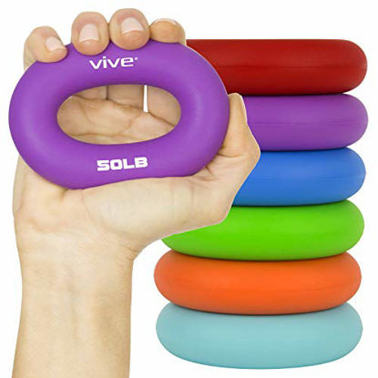Picture of Vive Grip Strengtheners (6 Pack) - Forearm Ring Hand Exercisers - Silicone Squeezer Gripper for Muscle Strengthening Training Tool - Arthritis Finger Physical Therapy PT Kit Trainer