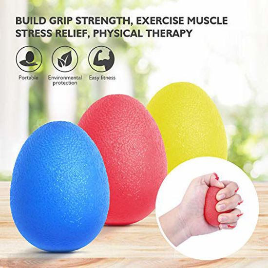 Picture of Peradix Hand Grip Strength Trainer, Stress Relief Ball for Adults and Kids, Wrist Rehab Therapy Hand Grip Equipment Ball Squishy - Set of 3 Finger Resistance Exercise Squeezer