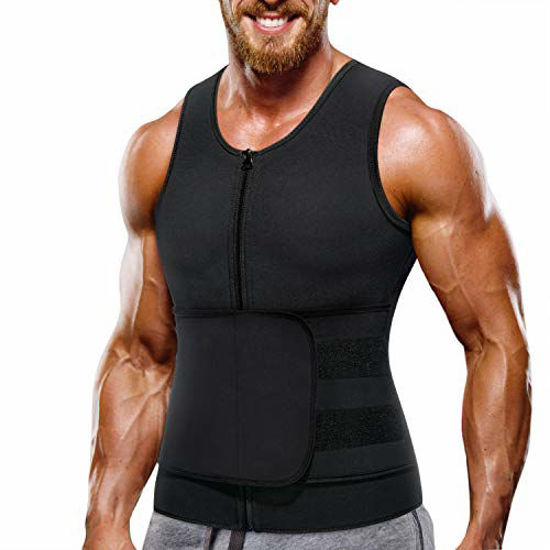 Picture of Wonderience Neoprene Sauna Suit for Men Waist Trainer Vest Zipper Body Shaper with Adjustable Belt Tank Top (Black, Medium)
