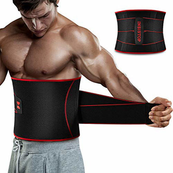 Picture of Waist Trimmer Belt for Men,Sauna Waist Trainer with Adjustable Double Straps,Sweat AB Belt for Weight Loss and Back Support Neoprene Belt