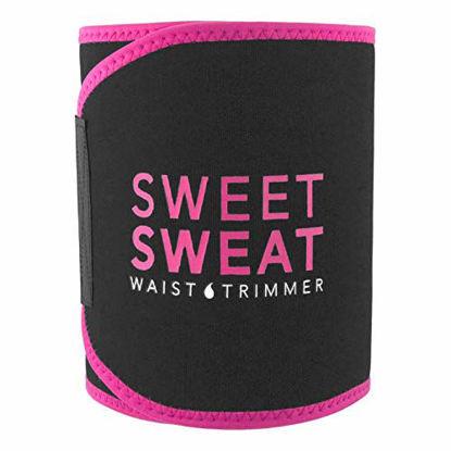 "Picture of Sweet Sweat Premium Waist Trimmer (Pink Logo) for Men & Women ~ Includes Free Sample of Sweet Sweat Gel! (Medium: 8"" x 41"" Length)"
