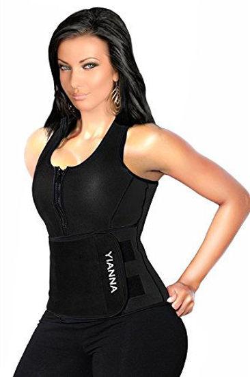Picture of YIANNA Sweat Sauna Vest for Women Neoprene Tank Top Waist Trainer Corset Fitness Weight Loss Body Shaper Plus size, YA8012-Black-New-5XL