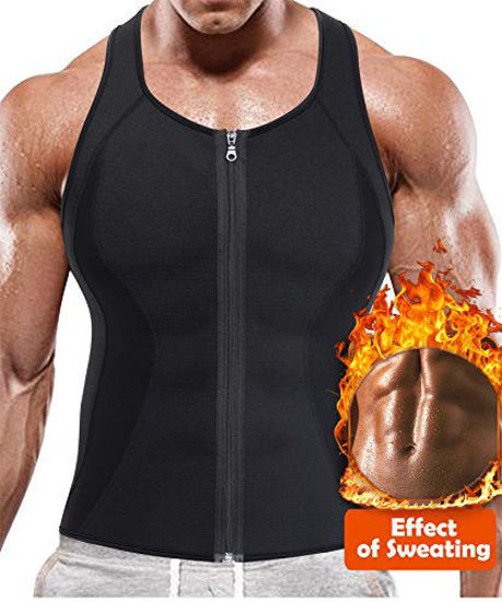 Picture of BRABIC Hot Sauna Sweat Suits,Zipper Closure Tank Top Shirt for Weight Lost,Waist Trainer Vest Slim Belt Workout Fitness-Breathable, Neoprene Fabric (Black Sauna Tank Top, L)