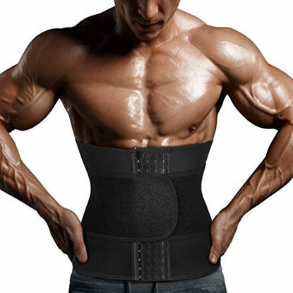 Picture of Yamadan Mens Neoprene Sauna Waist Cincher Slimmer Trainer Belt Belly Sweat Wrap Trimmer Workout Bands for Weight Loss (Black Waist Trimmer, M)