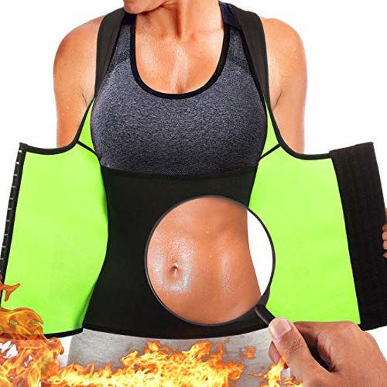 Picture of Rolewpy Women Neoprene Waist Trainer Corset Sweat Vest Sauna Body Shaper Cincher Workout Tank Top (Black Sauna Vest, Small (US 4-8))