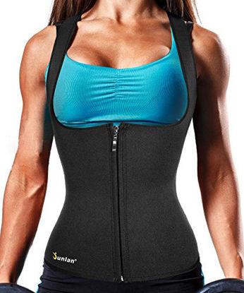Picture of Junlan Body Fat Burner Slim Tummy Shaper Waist Trainer Vest with Zipper for Weight Loss Women Tank Top Corset (Black, M)