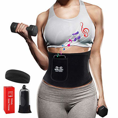 Picture of Neoprene Waist Trimmer for Women - Waist Trainer for Weight Loss Exercise Adjustable Band Sweating Fitness Belt Phone Pouch Accelerate Fat Burning Sport Sauna Suit Effect Body Shaper Slimming Belt