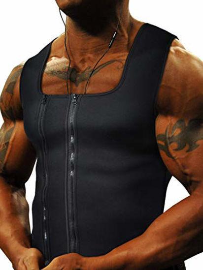 Picture of Goldenstarsport Workout Sweat Vest for Men Waist Trainer Vest for Enhanced Neoprene Sauna Vest for Men Weight Loss Effect - Unique Double Zipper System (X-Large, Black Body Shaper for Men)