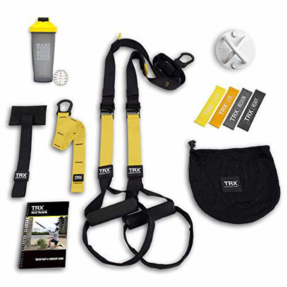 Picture of TRX All In One Home Gym Bundle: Includes All-In-One Suspension Trainer, Indoor & Outdoor Anchors, TRX XMount Wall Anchor, 4 Exercise Bands & Shaker Bottle
